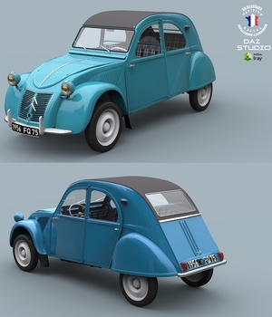 2CV CITROEN EXTENDED LICENSE 3D Game Models : OBJ : FBX 3D Models Extended Licenses 3DClassics