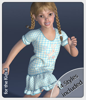 Gracie Dress and 14 Styles for the Kids 4 3D Figure Assets karanta
