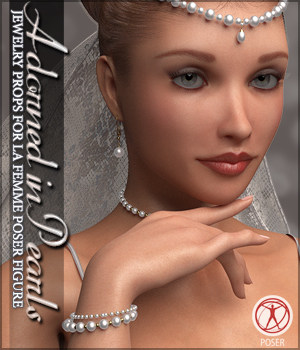 Adorned in Pearls for La Femme Poser Figure 3D Figure Assets La Femme Pro - Female Poser Figure Sveva