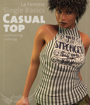 Single Basics - Casual Top for La Femme 3D Figure Assets La Femme Female Poser Figure Afrodite-Ohki