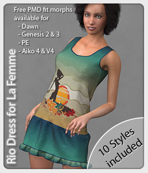 Rio Dress and 10 Styles for La Femme 3D Figure Assets La Femme Female Poser Figure karanta