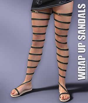 Wrap Up Sandals for Genesis 8 Females 3D Figure Assets lilflame