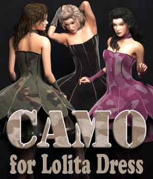 Camo for Lolita Dress 3D Figure Assets La Femme - LHomme Poser Figures Rae_Designs