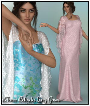 dForce - Belinda Long Gown for G8F 3D Figure Assets Lully