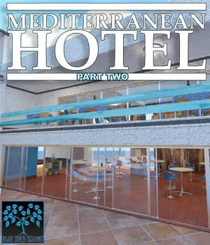 Mediterranean Hotel Part Two for Poser 3D Models BlueTreeStudio