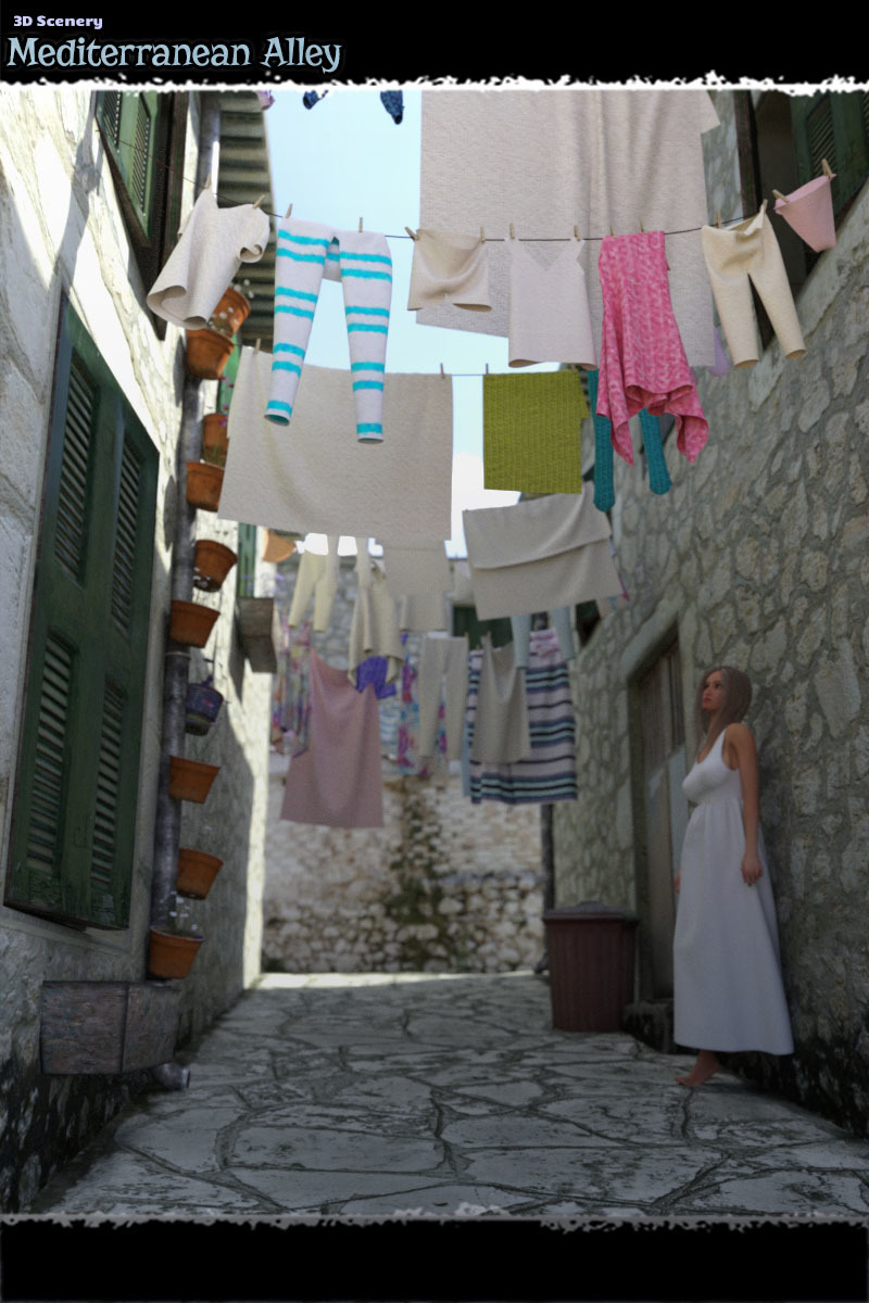 3D Scenery: Mediterranean Alley by ShaaraMuse3D