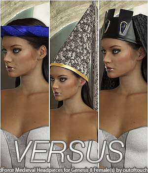 VERSUS - dForce Medieval Headpieces for Genesis 8 Female(s) 3D Figure Assets Anagord