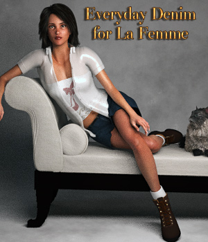 Everyday Denim for La Femme 3D Figure Assets La Femme Female Poser Figure Glitterati3D