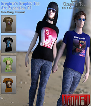 Greybro's Graphic Tee Art Expansion 01 3D Figure Assets Disciple3d