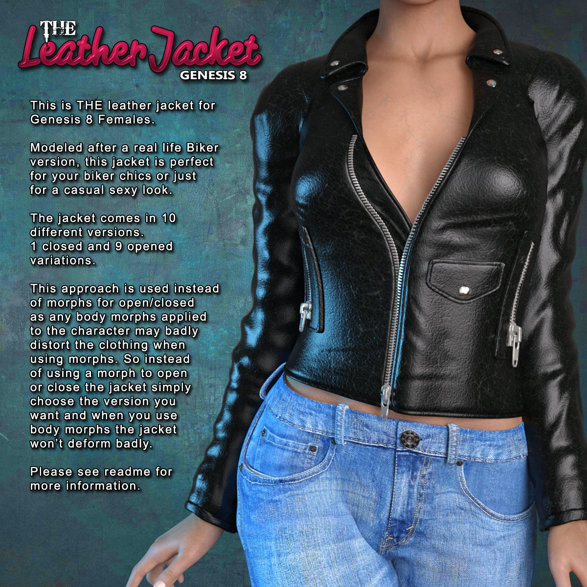 Exnem Leather Jacket for Genesis 8 Female