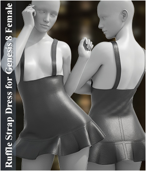 dForce Ruffle Strap Dress for Genesis 8 Female 3D Figure Assets Imaginary3D