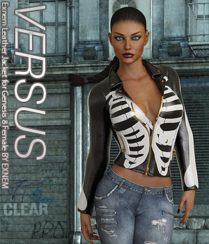 VERSUS - Exnem Leather Jacket for Genesis 8 Female 3D Figure Assets Anagord