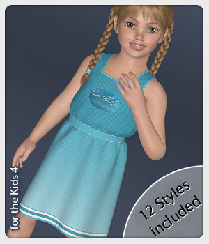 Linea Dress and 12 Styles for the Kids 4 3D Figure Assets karanta