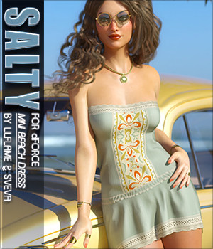 Salty for dForce Mini Beach Dress G8F 3D Figure Assets Sveva