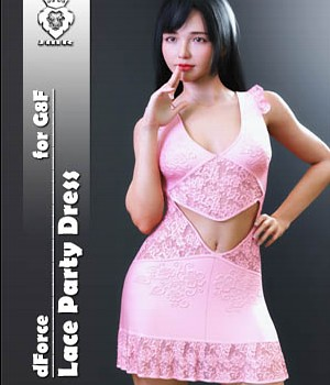 JMR dForce Lace Party Dress for G8F 3D Figure Assets JaMaRe