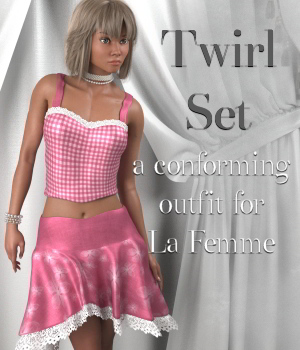 Twirl Outfit for LaFemme 3D Figure Assets La Femme Female Poser Figure DivabugDesigns