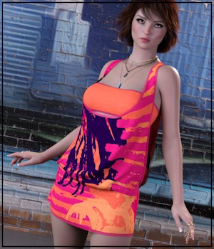 7th Ave: dForce - Yolanda Dress for G8F 3D Figure Assets 3-DArena