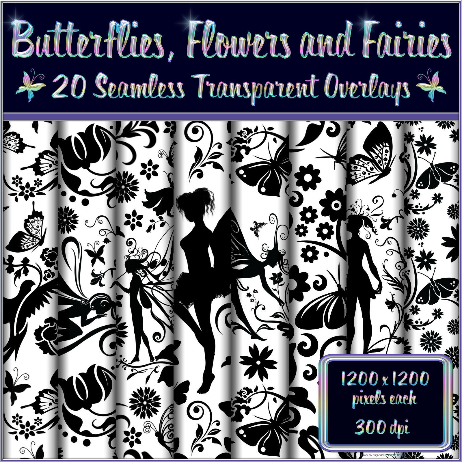 Butterflies, Flowers and Fairies Seamless Overlays