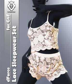 JMR dForce Lace Sleepwear Set for G8F 3D Figure Assets JaMaRe