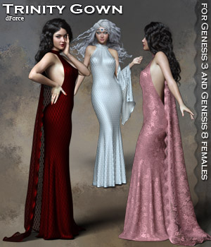 Trinity dForce Gown  3D Figure Assets RPublishing