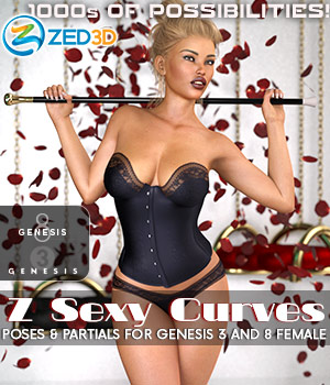 Z Sexy Curves Poses and Partials for Genesis 3 & 8 Females 3D Figure Assets Zeddicuss