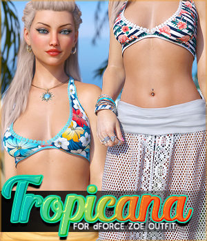 Tropicana for dForce Zoe Outfit G8F 3D Figure Assets Sveva