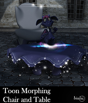 Toon Morphing Chair and Table 3D Models biala