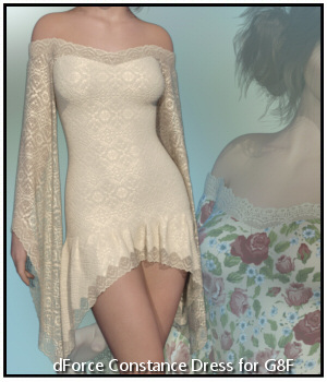 dForce - Constance Dress for G8F 3D Figure Assets Lully