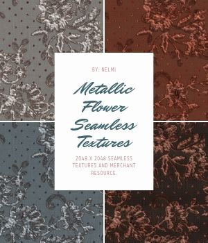 20 Metallic Flower Fabric Textures - Merchant Resource 2D Graphics Merchant Resources nelmi