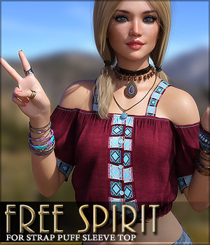 Free Spirit for Strap Puff Sleeve Top 3D Figure Assets Sveva