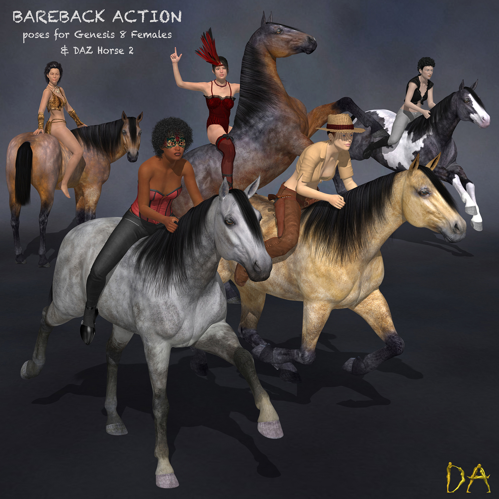 Bareback Action for G8F & DAZ Horse 2 by Don