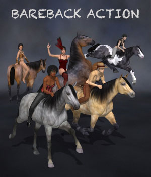 Bareback Action for G8F & DAZ Horse 2 3D Figure Assets Don