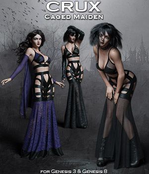 CruX Caged Maiden with dForce 3D Figure Assets Rhiannon
