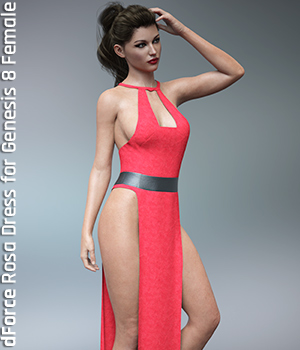 dForce Rosa Dress for Genesis 8 Female 3D Figure Assets Imaginary3D