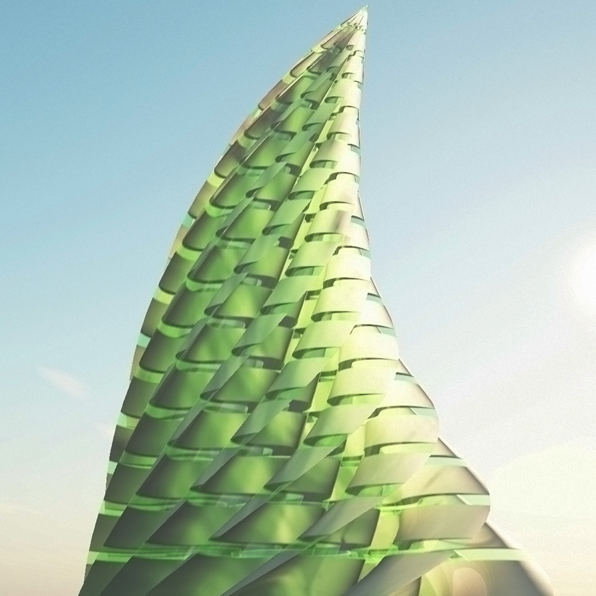 Sci - Fi Spiral Tower. Futuristic Building - Extended License