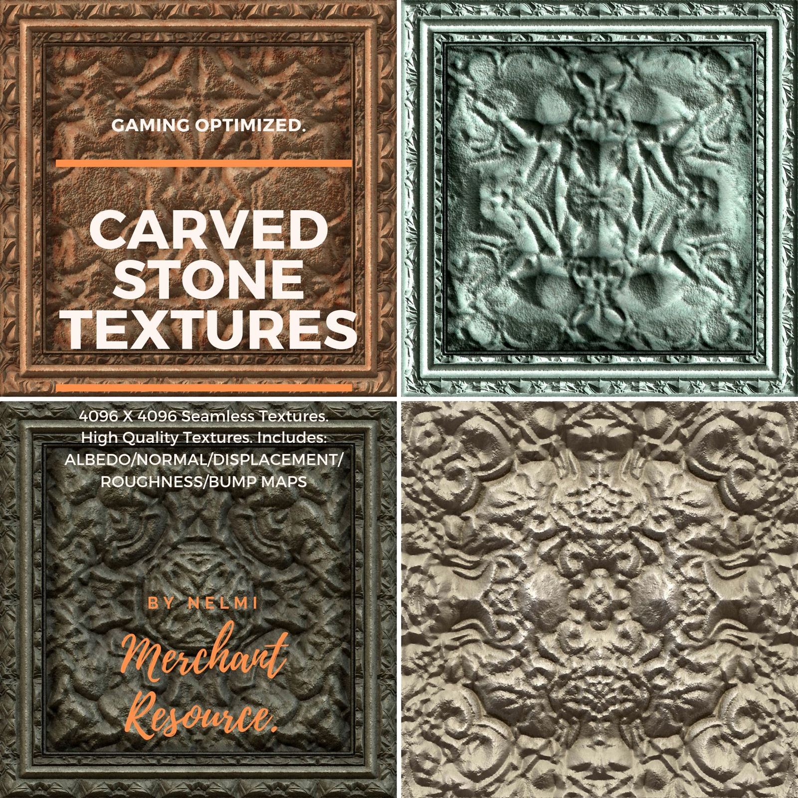 10 Carved Stone Textures - Merchant Resource