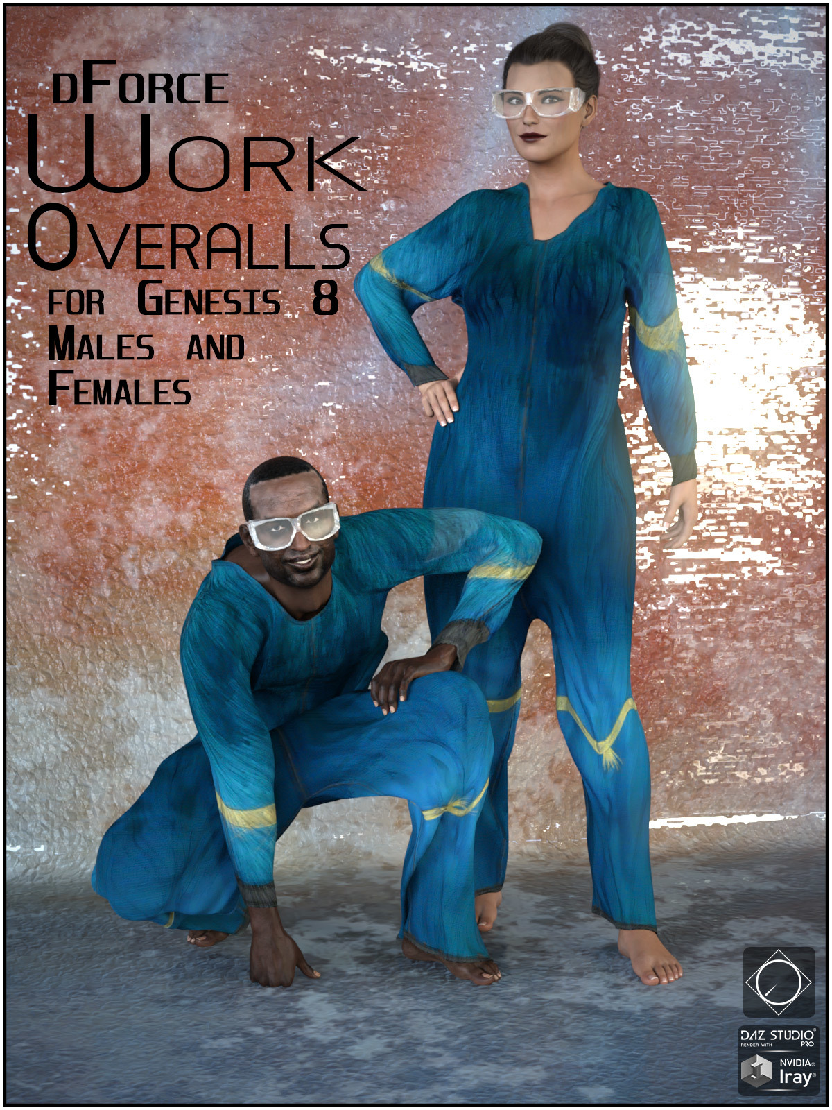 dForce Work Overalls for Genesis 8 Males and Females by SWTrium