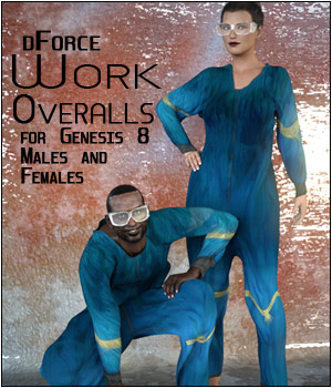 dForce Work Overalls for Genesis 8 Males and Females 3D Figure Assets SWTrium