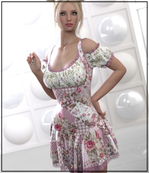 7th Ave: dForce - Rosy Dress for G8F 3D Figure Assets 3-DArena