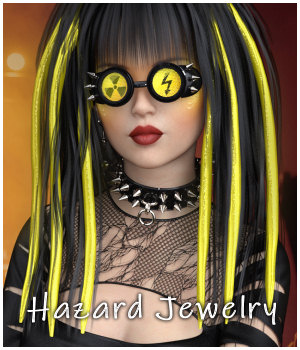 Hazard Jewelry for G8, La Femme, V4 3D Figure Assets La Femme Female Poser Figure RPublishing