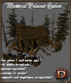 Medieval Peasant House - Extended License 3D Models Extended Licenses Dante78