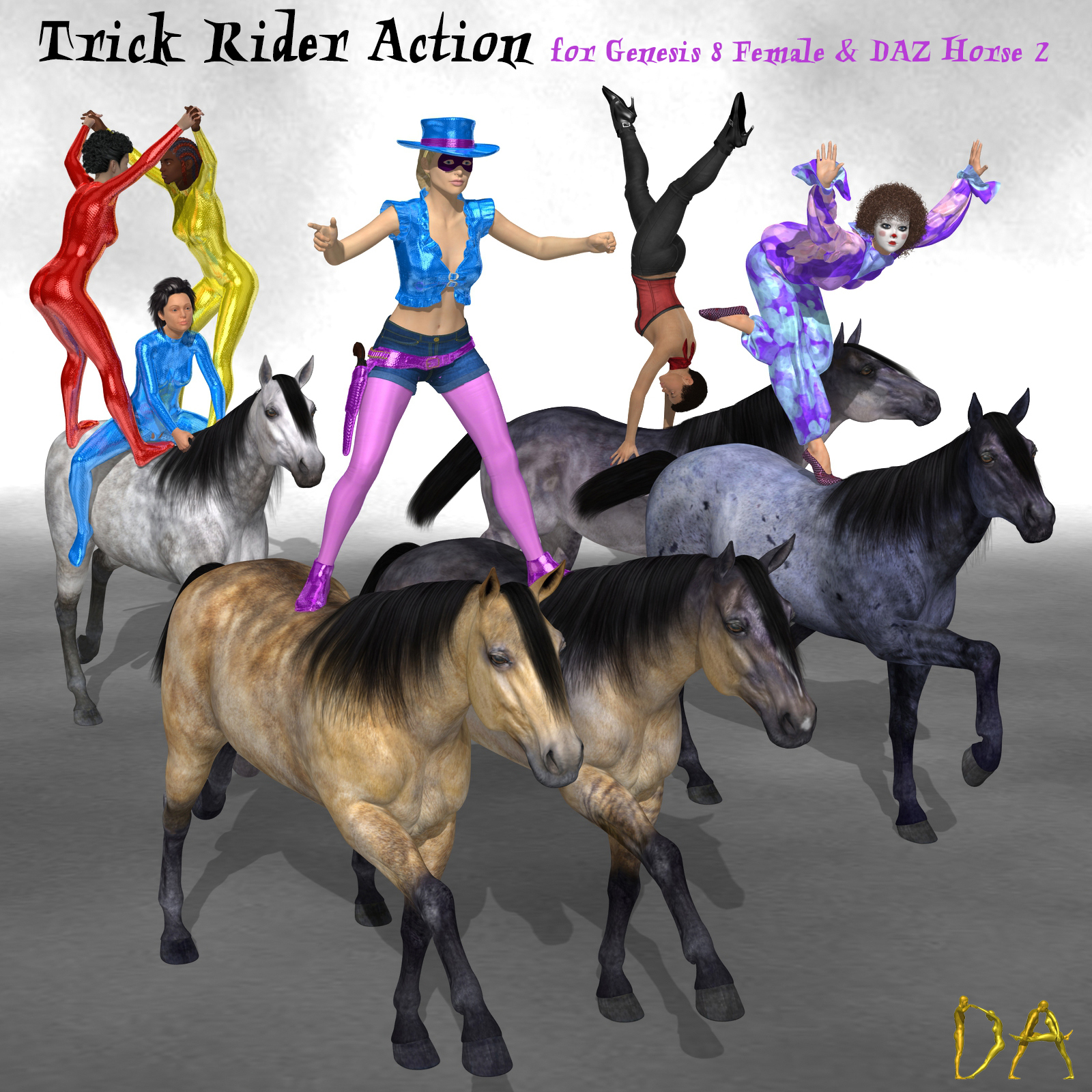 Trick Rider Action for G8F and DAZ Horse 2