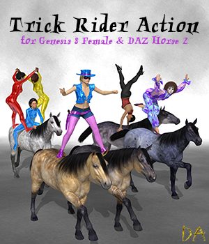 Trick Rider Action for G8F and DAZ Horse 2 3D Figure Assets Don