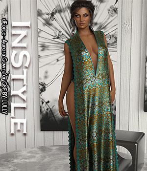 InStyle - dForce - Aurora Gown for G8F 3D Figure Assets -Valkyrie-