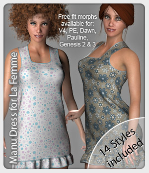 Manu Dress and 14 Styles for La Femme 3D Figure Assets La Femme Pro - Female Poser Figure karanta