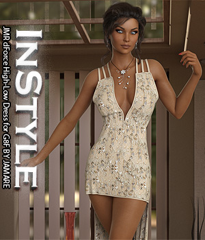 InStyle - JMR dForce High-Low Dress for G8F 3D Figure Assets -Valkyrie-