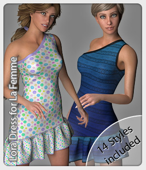 Lora Dress and 14 Styles for La Femme 3D Figure Assets La Femme Pro - Female Poser Figure karanta