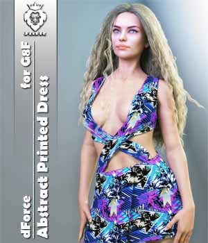 JMR dForce Abstract Printed Dress for G8F 3D Figure Assets JaMaRe