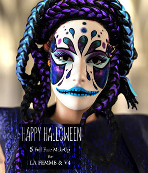Happy Halloween Makeup 2D Graphics La Femme Pro - Female Poser Figure HWW0