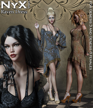 NyX Raven dForce Dress 3D Figure Assets Rhiannon